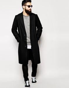 Ingrandisci ASOS - Cappotto di lana con bordi grezzi