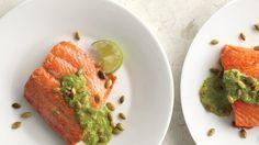 Pan-Seared Salmon with Pumpkin Seed-Cilantro Pesto Recipe
