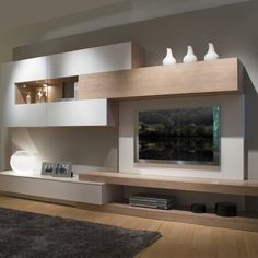 This living room furniture measures 360 cm long and 45 cm deep. - This living room furniture measures 360 cm long and 45 cm deep. We propose the combination of matt - Living Room Wall Units, Living Room Designs, Living Room Decor, Dining Room, Tv Wanddekor, Tv Unit Furniture, Cheap Furniture, Modern Tv Wall, Tv Wall Decor