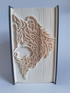 Book Folding Patterns, Pattern Books, Wolf Book, Tribal Wolf, Paper Folding, Pattern Cutting, Book Show, Home Crafts, Paper Art