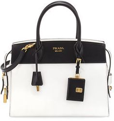 Prada Esplanade Medium Bicolor City Satchel Bag - Another! Burberry Handbags, Prada Handbags, Fashion Handbags, Purses And Handbags, Fashion Bags, Leather Handbags, Prada Purses, Handbags Online, Luxury Bags