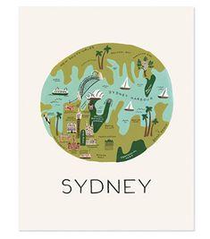 Rifle Paper Co. Sydney Map Art Print designed by Anna Bond Vintage Maps, Vintage Travel Posters, Sydney Map, Travel Illustration, Rifle Paper Co, Map Design, Graphic Design, City Maps, Travel Maps