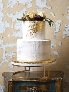 Cakes: Garden Variety - My New Orleans Wedding Cake Fillings, Buttercream Wedding Cake, Chocolate Fondant, Chocolate Buttercream, Gold Leaf Cakes, Almond Wedding Cakes, Cream Cheese Buttercream, Floral Event Design, Floral Style