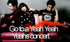 Go to a Yeah Yeah Yeahs concert.