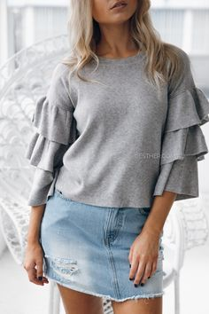 LAVINA FRILL SLEEVE KNIT TOP IN GREY $59.95