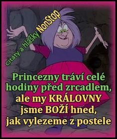Princezny tráví celé hodiny před zrcadlem, ale my královny jsme boží hned, jak vylezeme z postele. Carpe Diem, Funny Texts, Wise Words, Quotations, Funny Pictures, Jokes, Lol, Facebook, Google