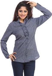 Blue coloured shirt for women by Ritzzy. Made from cotton, this hip length shirt features full sleeve.