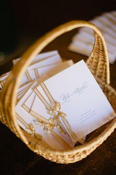 Gold Ribbon Wedding Programs   photography by http://hazelnutphotography.com/