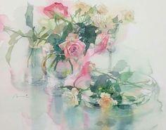 Al Nakamura Art Paintings, Landscape Paintings, Watercolor Paintings, Watercolor And Ink, Watercolor Flowers, Rose Sketch, Watercolor Techniques, Japanese Art, Painting & Drawing