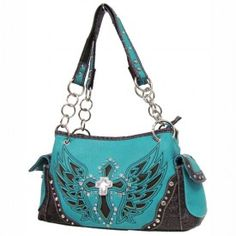 Winged Cross Inlay Western purse from www.cowgirlshine.com