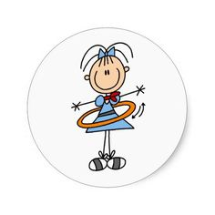 Hula Hoop Stick Figure T-shirts and Gifts Classic Round Sticker