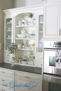 Wow... who thought milk glass was just for the blue hair set. Look at this blog for beautiful year round milk glass displays