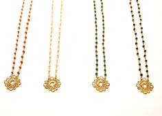 Gold Lace Pendant Necklace / Simple Modern by RawLuxGems on Etsy