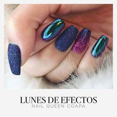 Today is Monday of Effects! With incredible effects for your nails at a price Uñas Gelish Nails, Manicure, Hair And Nails, My Nails, Acrylic Nails Coffin Short, School Nails, Nail Time, Rainbow Nails, Classy Nails