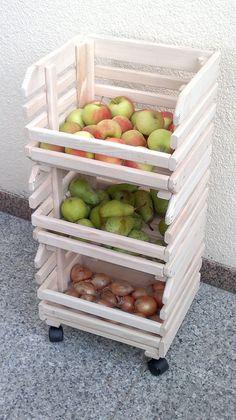 Früchtehorde Fruits auf Rollen, Stapelkiste Massivholz,Küchenhelfer,Küchenwagen