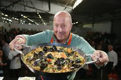 Pin for Later: Stars and Chefs Come Together For Great Meals at NYCWFF Andrew Zimmern Got Playful With Paella