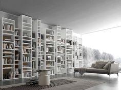 Presotto Italia - Libreria in laccato bianco Pari & Dispari 340 Arredamento mobili soggiorno - librerie