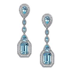 "Robert Procop Aquamarine ""Parisian Deco"" Earrings ""Parisian Deco"" aquamarine and diamond 5-drop earrings in 18k white gold. Ten vari-shaped aquamarines weighing 16.28 total carats and 340 round-cut diamonds weighing 2.25 total carats. Drop section removeable via hidden clip at reverse, allowing pear-shaped top to be worn alone."