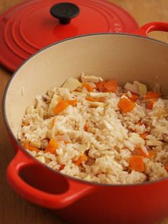 Rice with bamboo shoots in Le Creuset