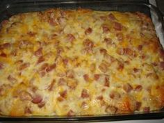 Easy breakfast casserole with refrigerator biscuits