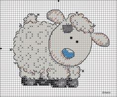 Схему с козочкой я уже выкладывала, теперь хочу поделиться схемой к овечке в стиле Татти Тедди.    Размер 9х7см, нитки Гамма - 8 цветов.  С...