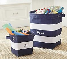 Storage baskets for nautical themed nursery or toddler room.