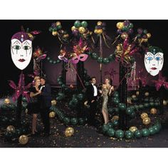 Bring the madness of Mardi Gras to your big event! Mardi Gras Madness Complete Theme includes: Masquerade Arch Kit, Festival Palms Kit, Mardi Gras Masks Kit (set of Balloon Clusters Chandelier Kit, Metallic Gold Balloons and instructions and materials Mardi Gras Decorations, Wedding Decorations, Balloon Clusters, 8th Grade Dance, Masquerade Wedding, Event Pictures, Gold Balloons, Sweet Sixteen, Alice In Wonderland