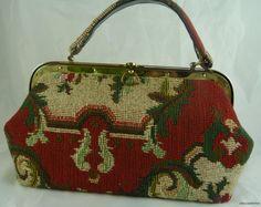 Vintage Meyer's USA Red Paisley Tapestry Handbag