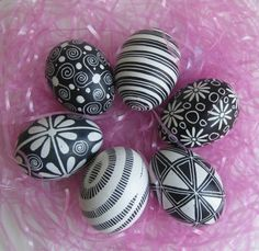 Black and White Pysanka - hand painted Polish  painted wooden eggs.