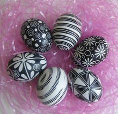 Black and White Pysanka - hand painted batik egg, Ukrainian pysanky Easter eggs, chicken egg shell