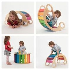 """The rainbow rocker is a """"play furniture"""" with lots of different ways to enjoy: To be climbed on and cruise, to slide down, as a baby rocker or doll's bed, to rock wildly or crawl through, as a kids store and for sitting… Baby Play, Baby Toys, Baby Rocker, Kids Wood, Montessori Toys, Kids Corner, Kids Store, Baby Furniture, Wood Toys"""