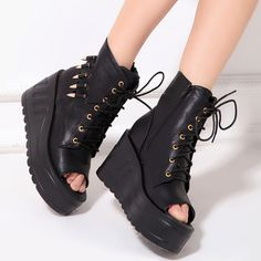 Free shipping Fashion cool punk platform women's shoes bullet decoration strap open toe boots women's high single shoes