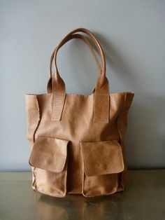 caramel colored leather tote