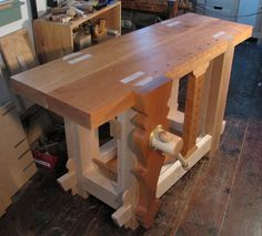 Woodworking Workbenches 2012 Workbench Of The Month - Wood Vise Screw and Wooden Vise for Leg Vise, Wagon Vise, Shoulder Vise, Twin Screw Vise, Tail Vise and Face Vise for Wood Workbenches - Workbench Designs, Workbench Plans, Woodworking Workbench, Woodworking Workshop, Easy Woodworking Projects, Popular Woodworking, Woodworking Furniture, Woodworking Shop, Craftsman Workbench