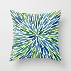 Watercolor Burst – Blue & Green Throw Pillow$20.00…