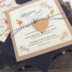 Vintage floral wedding invitation - see details at http://themerrybride.org/2014/11/08/wedding-invitations-on-etsy-com/