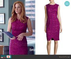 Donna's pink lace dress on Suits.  Outfit Details: http://wornontv.net/51237/ #Suits