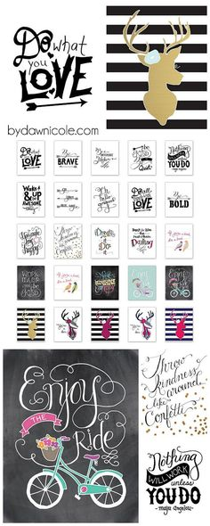 By Dawn Nicole: A Collection of 25 Hand-Lettered & Illustrated Prints Printable Planner, Printable Wall Art, Planner Stickers, Free Printables, Printable Quotes, Life Planner, Happy Planner, Paper Crafts, Diy Crafts
