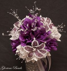 Beaded Lily Wedding Bridal Bridesmaid Bouquet You Pick Color Silk Flowers Quince   eBay