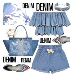 """Denim Pieces"" by petalp ❤ liked on Polyvore featuring Stuart Weitzman, Mignonne Gavigan, Valentino, HUISHAN ZHANG, Tootsa MacGinty, Alex and Ani and denim"