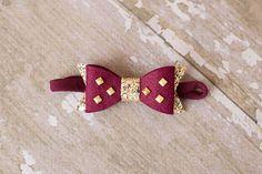 Burgundy Gold HeadbandGold Studded Hair Bow or Hair ClipFelt