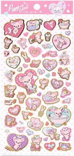 cute Piggy Girl stickers with pink pig & hearts Japan