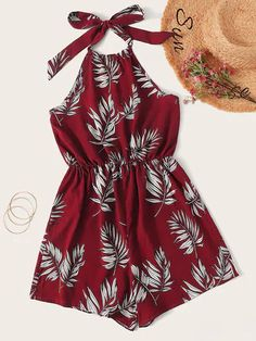 Shop Tropical Print Backless Halter Playsuit at ROMWE, discover more fashion styles online. Girls Fashion Clothes, Teen Fashion Outfits, Outfits For Teens, Girl Fashion, Cute Summer Outfits, Cute Casual Outfits, Pretty Outfits, Cute Rompers, Rompers Women