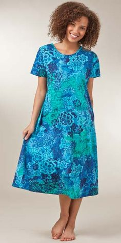 La Cera Dresses - Cotton Knit A-Line Blue Dress in Deep Lagoon