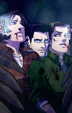 supernatural fanart Credits to the artist Supernatural Destiel, Supernatural Series, Supernatural Drawings, Supernatural Pictures, Castiel, Sam And Dean Supernatural, Supernatural Fanfiction, Supernatural Cartoon, Supernatural Imagines