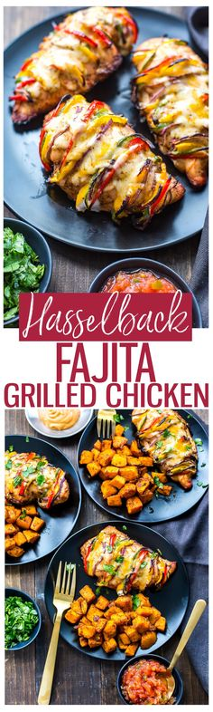 Grilled Hassleback Fajita Stuffed Chicken Stuffed with bell peppers & red onions Gluten Free Low Carb Healthy Recipes, Mexican Food Recipes, Low Carb Recipes, Diet Recipes, Cooking Recipes, Quick Recipes, Recipies, Budget Cooking, Summer Recipes