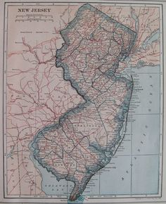 1925 Antique NEW JERSEY Map of New Jersey State by plaindealing