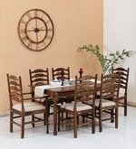 Buy Encore Solid Wood Six Seater Dining Set (4   2 Arm Chairs) in Provincial Teak Finish by Amberville  Online: Shop from wide range of Dining Online in India at best prices. ✔Free Shipping✔Easy EMI✔Easy Returns