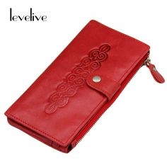 Red Genuine Leather Women's Clutch Wallet with Phone Pocket Fashion Ladies Purse
