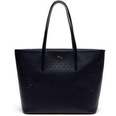 Lacoste Women's Medium Chantaco Perforated Piqué Tote Bag (6,735 MXN) ❤ liked on Polyvore featuring bags, handbags, tote bags, bags bags, leather goods, lacoste tote, perforated tote bag, zippered tote, zip tote and blue tote handbags